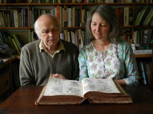 Julie & Matthew with the Theatrum Botanicum. Photo by Tara Ridgewell